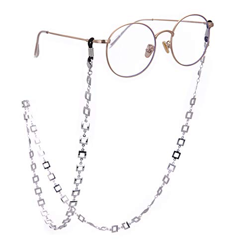 cooltime Brillenhalter aus Metall, quadratisch, für Damen und Herren Schwarz/Silber