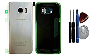 Reparatur-set: Original Akkudeckel Backcover Samsung Galaxy S7 G930F in silber + Klebefolie/Dichtung + Werkzeug-Set + Reparaturanleitung (Austausch des Backcovers ) von SPES®