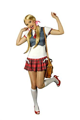 Karneval-Klamotten Schulmädchen Kostüm Uniform Damen Kleid sexy Schülerin Studentin Damenkostüm Größe 34