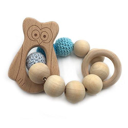 Preisvergleich Produktbild Coskiss Häkeln Perlen Zahnen Ring Set Unbehandelten Buche Teether mit Bio Holz Adler Spielzeug Holz Armband Baby Mama Kinder Hölzerne Teether Armreif (Adler)