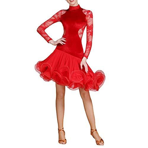 DEYI Frauen Lyrical Latin Dance Kleid Langarm Rüschen Ballsaal Wettbewerb Leistung Kostüm Prom Midi Kleid Kleid (Farbe : Rot, Größe : XL)