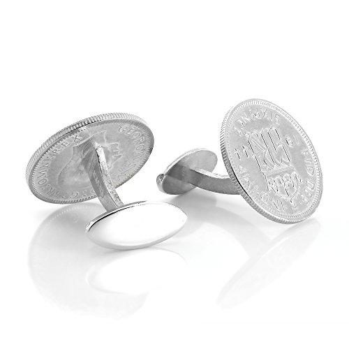 """Boutons de Manchette """"Sixpence"""" Monnaie Anglaise en Argent 925/1000 - Fermeture Fixe"""