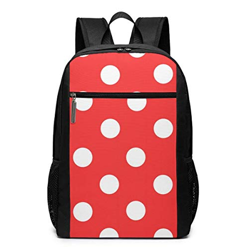 TRFashion Rucksack Red and White Polka Dot Laptop Computer Backpack 17 Inch Fashion Casual Travel Daypack Laptop Bag Schoolbag Book Bag for Men Women Black (Coach Bag Book)