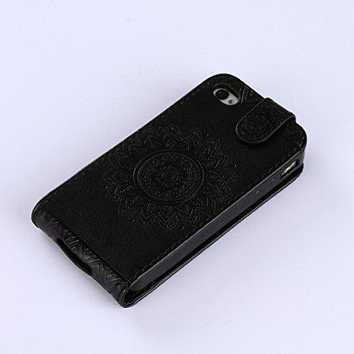 Custodia iPhone 4S,Case Cover per iPhone 4S, Ukayfe Luxury Puro Colore Modello Goffratura Murale Continental Cristallo 3D Design Bumper Slim Folio Protectiva Lussuosa Retro Custodia Cover [PU Leather] Nero