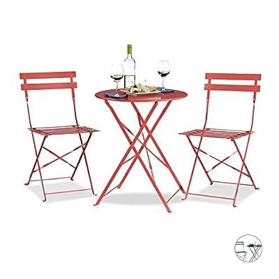 Relaxdays Bistrotisch mit 2 Stühlen, Klappbar, Rund 60x60 cm, Metall, Outdoor, Garten Bistroset 3 Teilig, Wetterfest