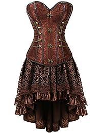 78c3270d52d Grebrafan Women s Spiral Steel Boned Steampunk Corsets with Fluffy Pleated  Layered Tutu Skirt