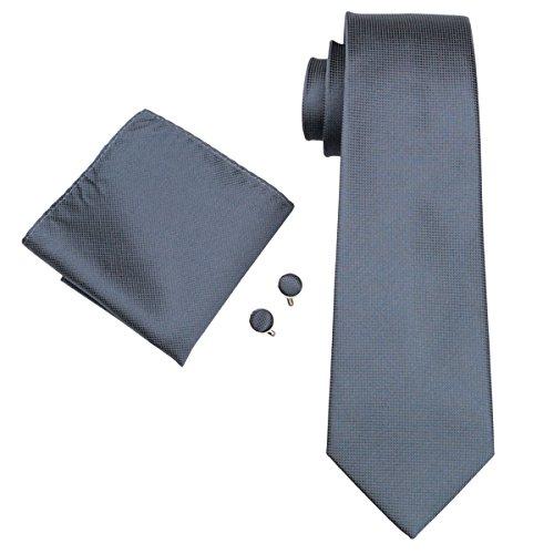 CAOFENVOO Cravate Hanky Cufflinks solides Jacquard en soie tissée cravate de soirée de mariage une affaire d'hommes Blanc