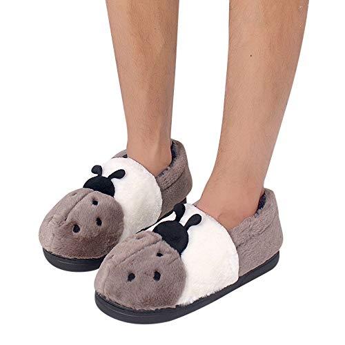 Tatis Shoes Paar Modelle Künstliche Plüsch Käfer Muster Kontrast Farbe Alle mit Baumwolle Hausschuhe Herren Cartoon Schuhe Rutschfeste Warme Schuhe Hause Outdoor-Schuhe Bequem und Warm