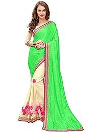 [Sponsored]Koroshni Women's Multi Paper Silk Half And Half Georgette Saree With Blouse Material