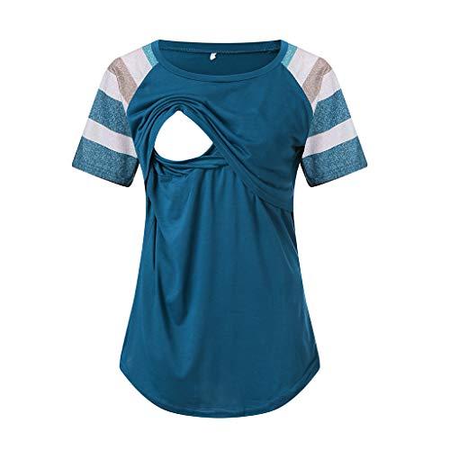 Frauen Umstandsmode Layered Unregelmäßige Pflege Shirt Stillshirt Kurzarm Zum Stillen Heligen Mutterschaft Womens Nursing Stripe Kurze Ärmel Rundhals Stillbluse