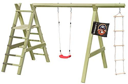 Gartenpirat Holz-Schaukel Premium 5.1 Schaukelgestell mit Leiter und Strickleiter