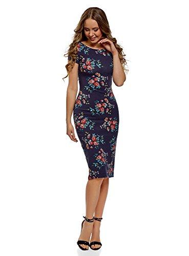 oodji Collection Damen Midi-Kleid mit Ausschnitt am Rücken, Blau, DE 34/EU 36/XS
