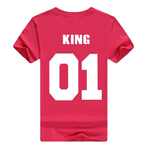ZKOO Donne KING & QUEEN Corona Stampa T-Shirt Camicetta Camicia Per Lovers Casuale Moda Donna Maschile Re/Red Rose#2