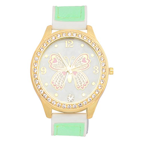 STRIPES EID Special Big Round Butterfly Dial Watch for Women & Girl