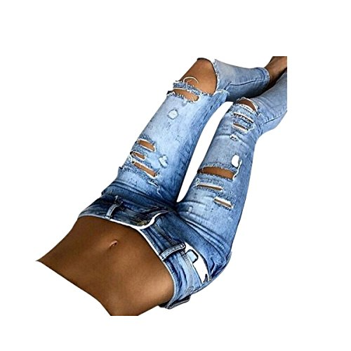 VENMO Frau Lässige Slim Fit Denim Skinny Mid Taille Jeans Lange Hosen Jeans Slim Hose Tech Mesh Sport Leggings Yoga Pants schwarz Damen Jeans mit hoher Taille Stretch Dünn Skinny Hose (M, Blue) (Leg Hose Taille Slim)