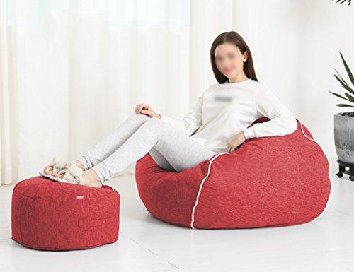 2 Pièces Haricot Sac Repose-pieds Canapé Canapé Chambre Salon Chaise Unique Amovible Lavable 80 * 90 cm (Couleur : Rouge)