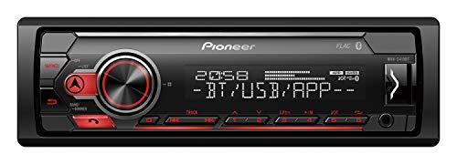 Pioneer MVH-S410BT   1DIN Autoradio mit RDS    rot   halbe Einbautiefe   deutsche Menüführung   Bluetooth   USB   AUX-Eingang   iPod/iPhone-Direktsteuerung   Freisprecheinrichtung   Smart Sync