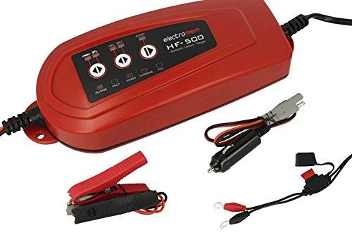 Caricabatterie e mantenitore di carica per batterie auto moto trattore barca 12v 3,5a electromem hf500