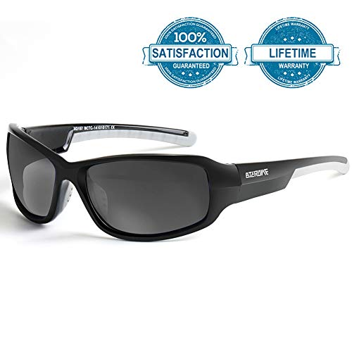 BTERDNE Sportbrille Polarisiert Fahrradbrille Sport Sonnenbrille für Herren und Damen UV400 Schutz Extra Leicht TR90 Polarisierte Radbrille Herren Verschiedene Linsenfarben zur Wahl (Schwarz)