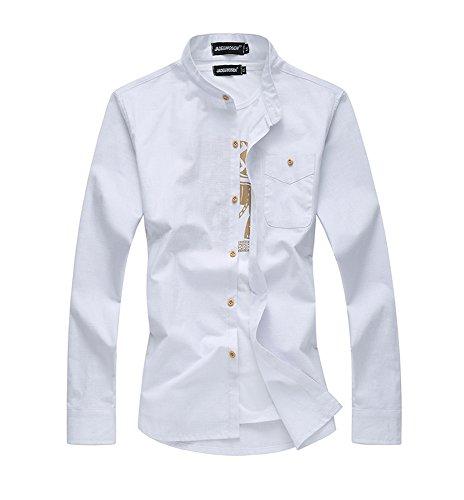 Homme Manches Longues couleur pure blanc noir mince Chemise Blanc