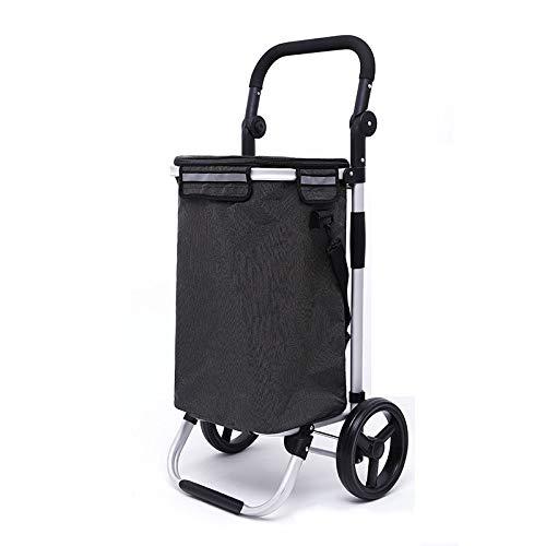 Unbekannt Aluminiumlegierung Einkaufswagen 8-Zoll-Rad Faltbare Interne Eisbeutel Design,BlackB