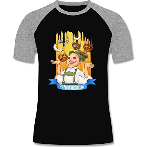 Oktoberfest Herren - Wiesngaudi - zweifarbiges Baseballshirt für Männer Schwarz/Grau Meliert