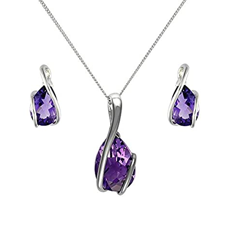 Ivy Gems 9ct White Gold Amethyst Earrings and Pendant Set + 46cm Curb Chain