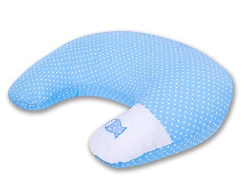 Ami Lian® Coussin d'allaitement Coussin Coussin de positionnement latéral (60 x 42 cm) Ink. à pois petit bleu clair de poisson Toile avec broderies