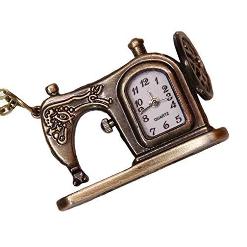 F-blue Weinlese-Nähmaschine-Form-Taschen-Quarz-Uhr-Kette Legierung Uhrtasche analoge Armbanduhr analoge Armbanduhr Uhr-Anhänger Halskette Geschenk