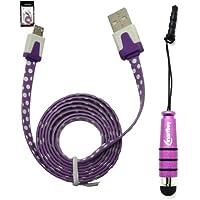 Emartbuy® Tupfen Bereich Duo Pack für i.onik TP7-1500DC 7 Zoll Tablet - Violett Metallic Mini Stylus + Polka Dots Lila / weiß Wohnung Anti-Tangle Micro USB Sync Übertragen von Daten und Ladekabel