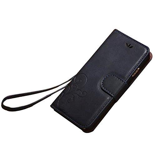 iPhone 6Cas, Style Vintage Coque Housse Sac Étui Housse en Cuir Synthétique avec Support multifonction pour iPhone 4.7 noir