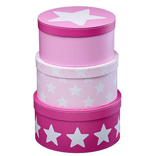 Kids Concept 310707 Pappboxen rund 3-er Set rosa