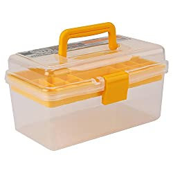 Jianhua Compact Multipurpose Transparent Plastic Storage Box with Removable Tray (Yellow)