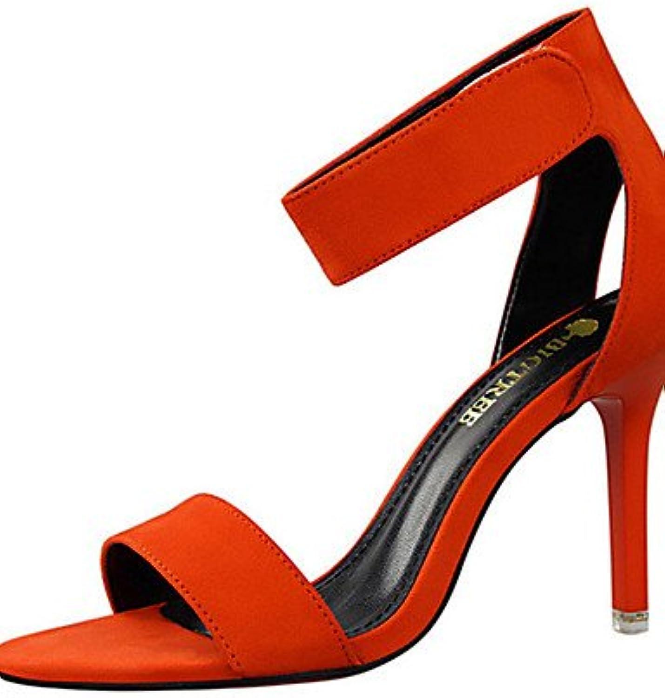 ZQ Zapatos de mujer-Tac¨®n Stiletto-Tacones-Tacones-Casual-Vell¨®n-Negro / Rojo / Gris / Naranja / Caqui , gray-us8...
