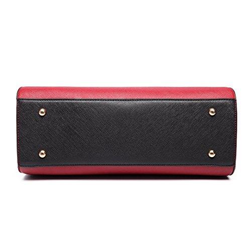 Miss Lulu Damen Klassische Handtasche Winged Schultertasche Groß Umhängetasche Taschen 6627 Red/Black
