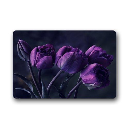 Creative Comfortable Style Door mat, Pretty Deep Purple Tulip Flower Doormat, Size (40 X 60cm) Doormat Floor Mat Indoor/Outdoor Decorate your home