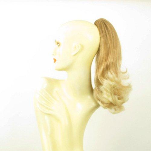 Postiche queue de cheval extension femme mi-longue 40 cm blond clair cuivré méché blond clair ref 8 en 27t613