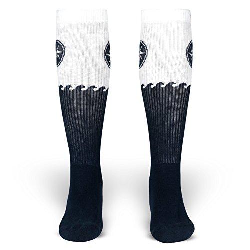 Blanker Hans | Socken von ROCKASOX | Weiß, Blaue Wellen & Windrose | kniehoch | Unisex Strümpfe Size L (And Freestyle Rock Kostüme Roll)