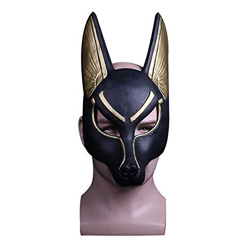 Kostüm Anubis Männer - QWEASZER Das alte ägypten Gott des todes Anubis Maske Latex für Halloween bar Performance Maskerade Show für Erwachsene Frauen männer Cosplay kostüm Requisiten,B