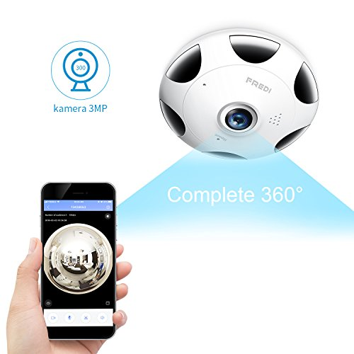 FREDI 3MP Panorama Fisheye WLAN Dome Videoüberwachungskamera mit IR Nachtsicht/Bewegungsmelder Innenbereich WLAN 360° Sicherheitskamera für Home Mobile App (EC9)