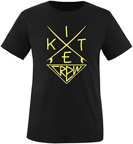 EZYshirt® Kitesurf Crew Herren Rundhals T-Shirt Schwarz/Gelb