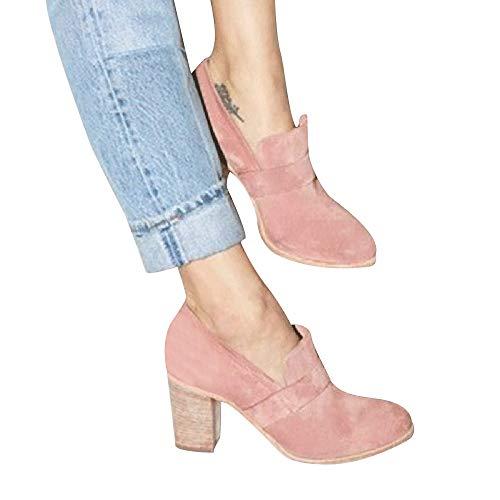 TianWlio Boots Stiefel Schuhe Stiefeletten Frauen Herbst Winter Runde Zehe Wildleder High Heel Schuhe Reine Farbe Stiefel Slip-On Einzelne Schuhe Weihnachten Rosa 36