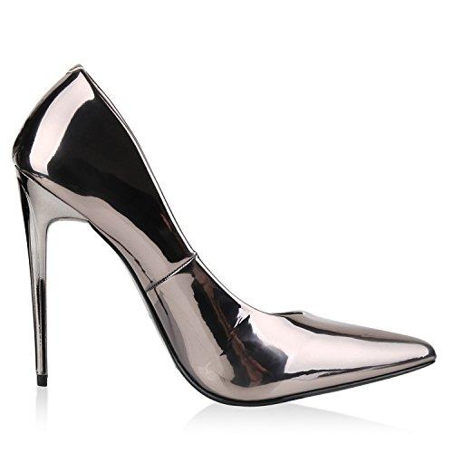 Stilvolle Damen Pumps | Modische Akzente durch spitze Schuhform & Lack | Party oder Business Grau Metallic