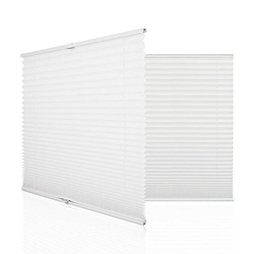 HOMEDEMO Plissee Rollo Klemmfix Ohne Bohren 80x130 cm Jalousie für Fenster und Tür Sichtschutz und Sonnenschutz Weiss