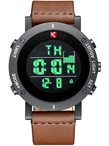 Herren Uhren Männer Militär Digital Chronograph Wasserdichte Sport Uhr Multifunktions LED Alarm Tag Datum Kalender Mode Coole Casual Schock Leder Uhren für Männer Jugendliche Kinder