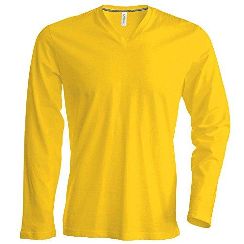 Kariban - Herren Langarmshirt mit V-Ausschnitt bis Größe 4XL / Yellow, XXL
