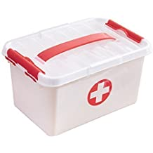GETKO WITH DEVICE Plastic Portable Family First Aid Kit Medicine Box and Organizer with Detachable Tray and Handle, 30x20x14cm(White and Red)