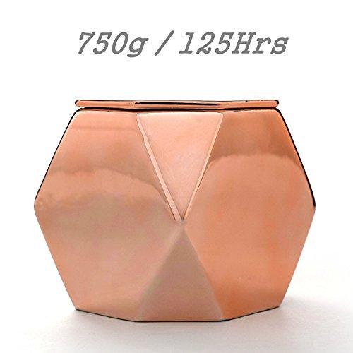 Velas Perfumadas de Jasmine Gardenia De Cilantro y Aceite Esencial Portavelas de Oro Rosa de 750g 100% de Cera de Soja, Portavelas AMPLIO Champán, 120+ Horas, Tres Pabilos de Algodón, Quema Uniformemente, Vela de Regalo