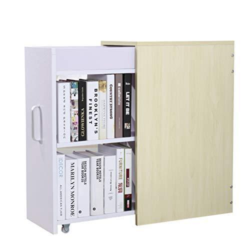 Bücherschrank Schreibtisch (HM&DX Holz Schublade Bücherregal, Bücherschrank Mit rädern Unter Schreibtisch Buch Kabinett Aufbewahrungsregal Für Haus büro-C)