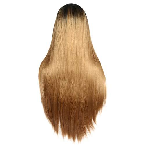 Waselia - Perücke, blond, gewellt, mit Spitze vorne, klebefrei, lang, blond, Kunsthaar, Mittelscheitel, wellig, für Frauen, hitzebeständig, Long Lace Front Wigs Heat Resistant Fiber Synthetic ()